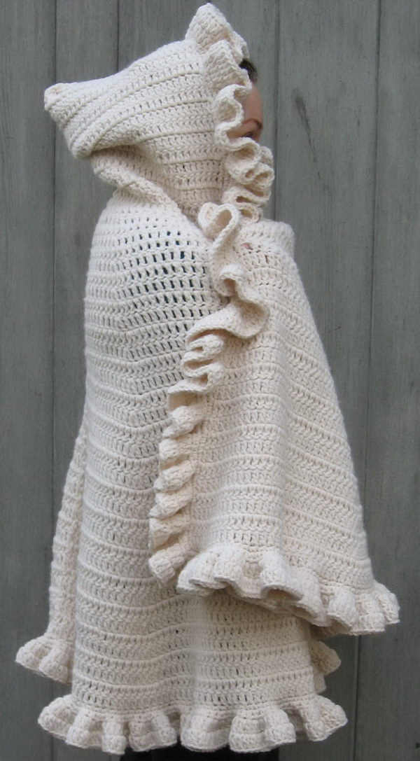 Crochet Shawl With Hood.
