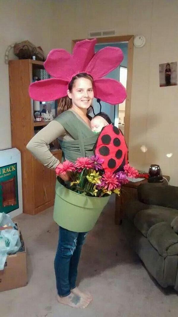 Flowerpot and Ladybug Babywearing Costume.