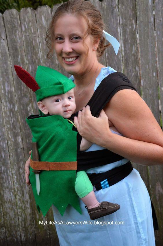 Peter Pan and Wendy Babywearing Halloween Costumes.