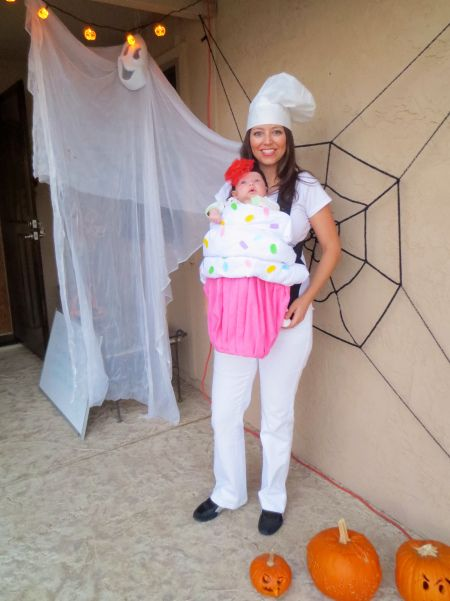 Cute Mom Baker and Baby Cupcake Costume.