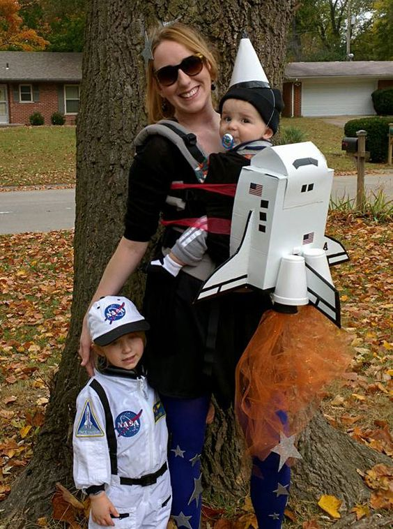rocket costume made out of shoebox cardboard and plastic cups as engines