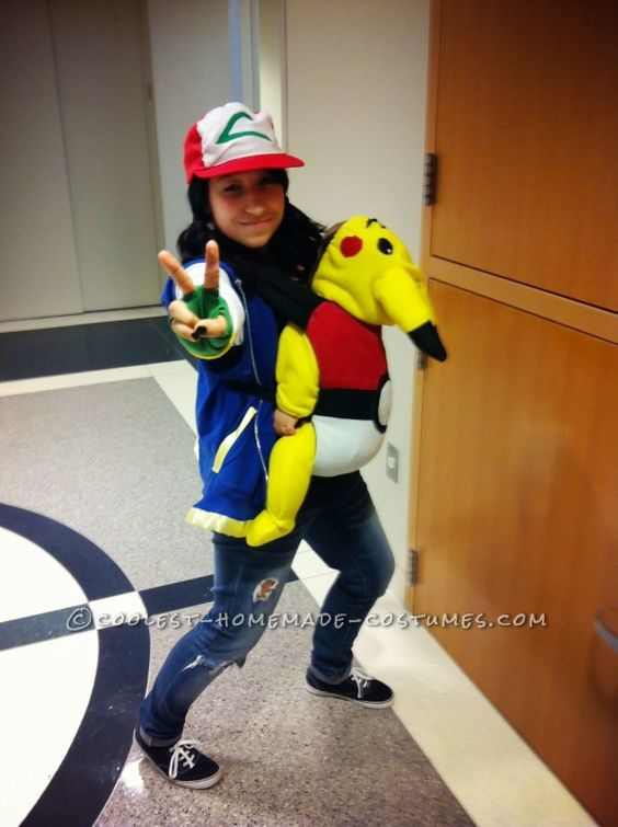 Adorable Pikachu Baby and Ash Mom Costume.