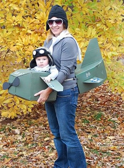 Mom and Baby Aviator Costumes.