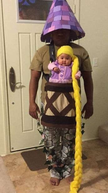 Baby Rapunzel Costume With Parent as The Tower.