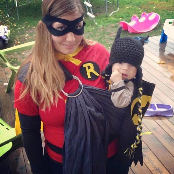 Batman and Robin & 50+ Cute Baby-Wearing Halloween Costumes 2017