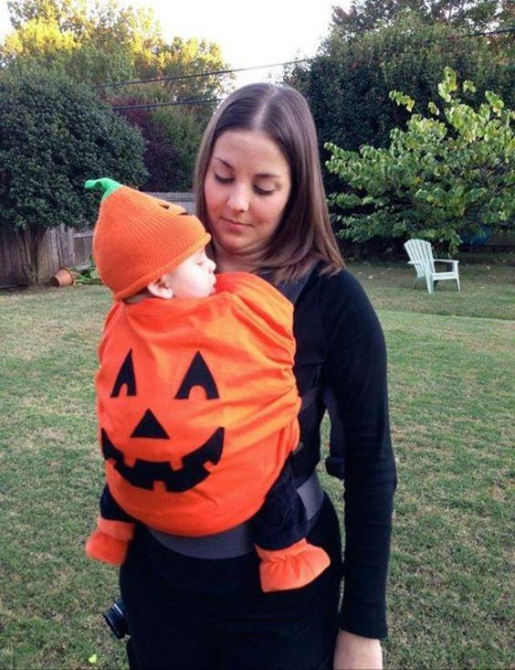 Pumpkin Babywearing Costume.