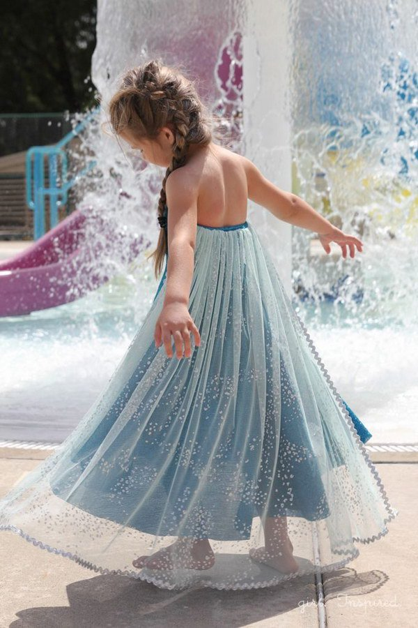 DIY Elsa Snow Queen Dress for Little Girl.