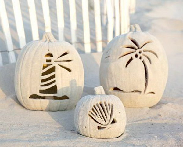 Beach Pumpkins: Carved With Coastal Motif And Covered With Sand.