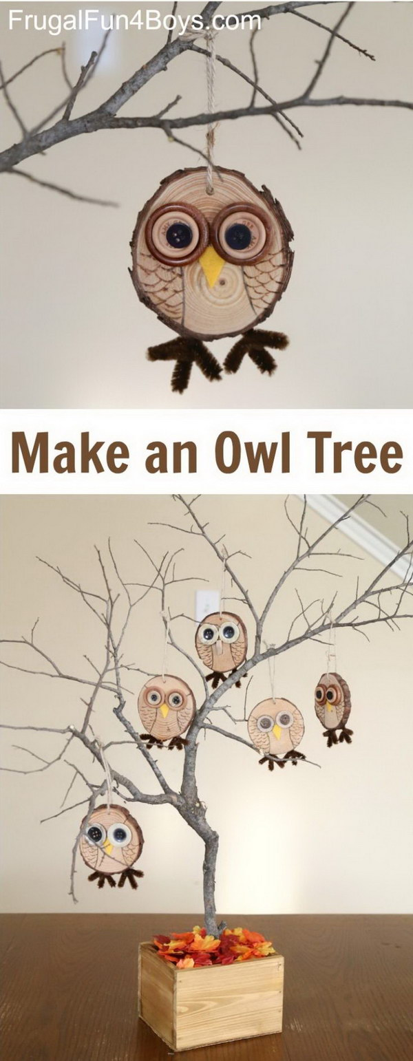 Adorable Wood Slice Owl Ornaments.