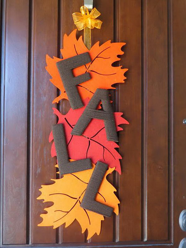 DIY Fall Leaf Door Decoration.