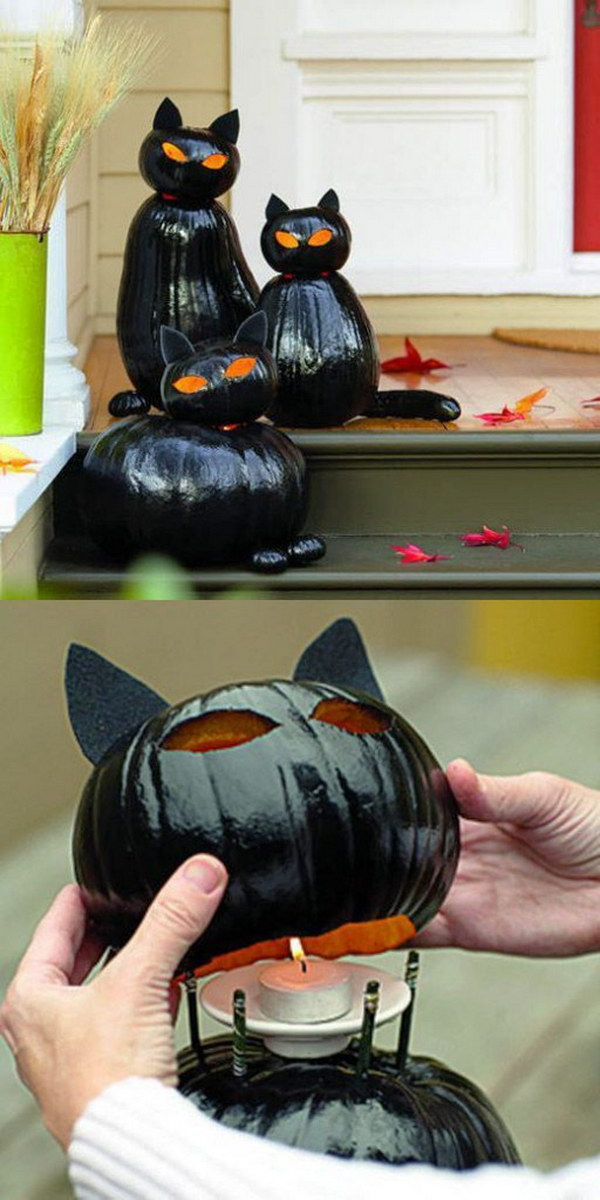 DIY Black Cat O'Lanterns.