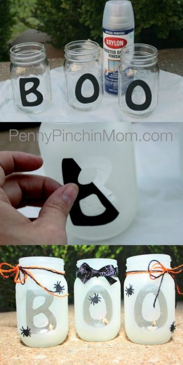 DIY Halloween Mason Jar Lantern.