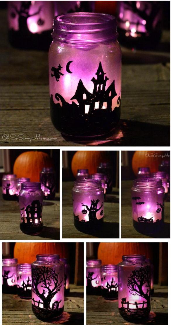 Upcycled Halloween Village Luminaries.