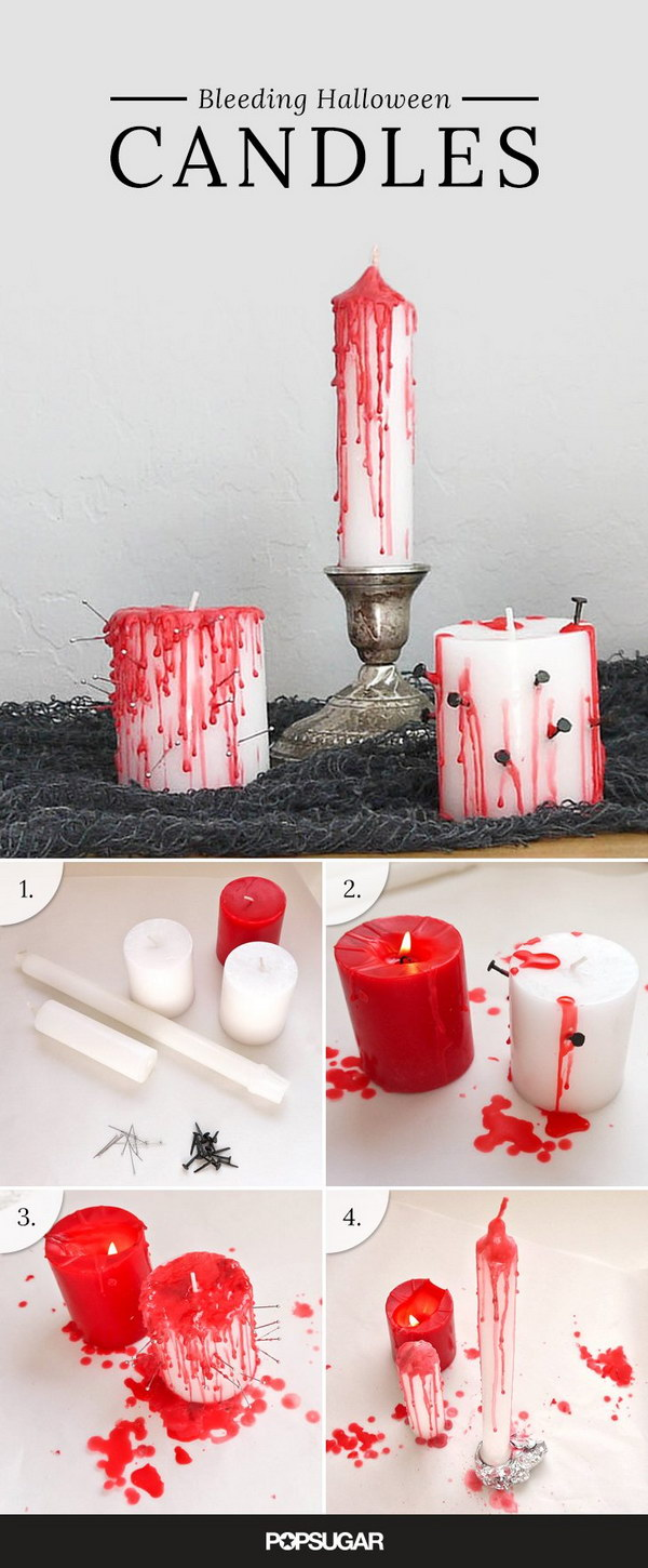 DIY Bleeding Halloween Candles.