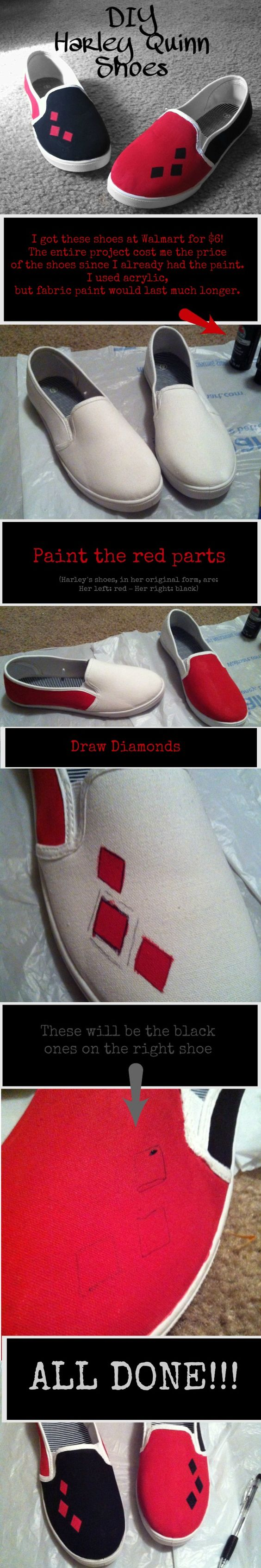 Casual Harley Quinn Shoes   Easy and Under $6!.