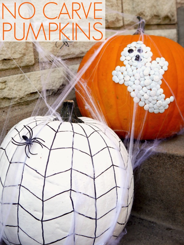 Decorate Your Pumpkins with Thumb Tacks Ghost and Painted Spider Web.