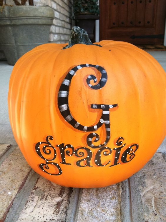 Paint a Monogram with the First Name for Pumpkin Decoration.