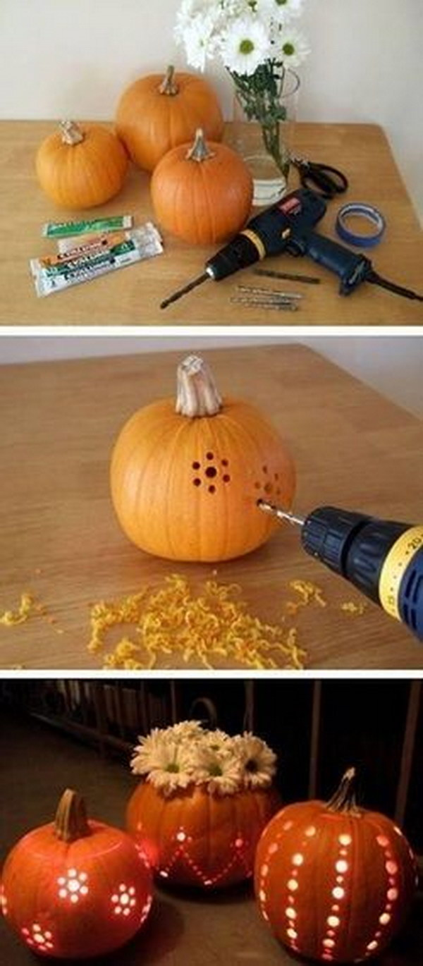 Drill holes in a pumpkin for easy, creative designs.