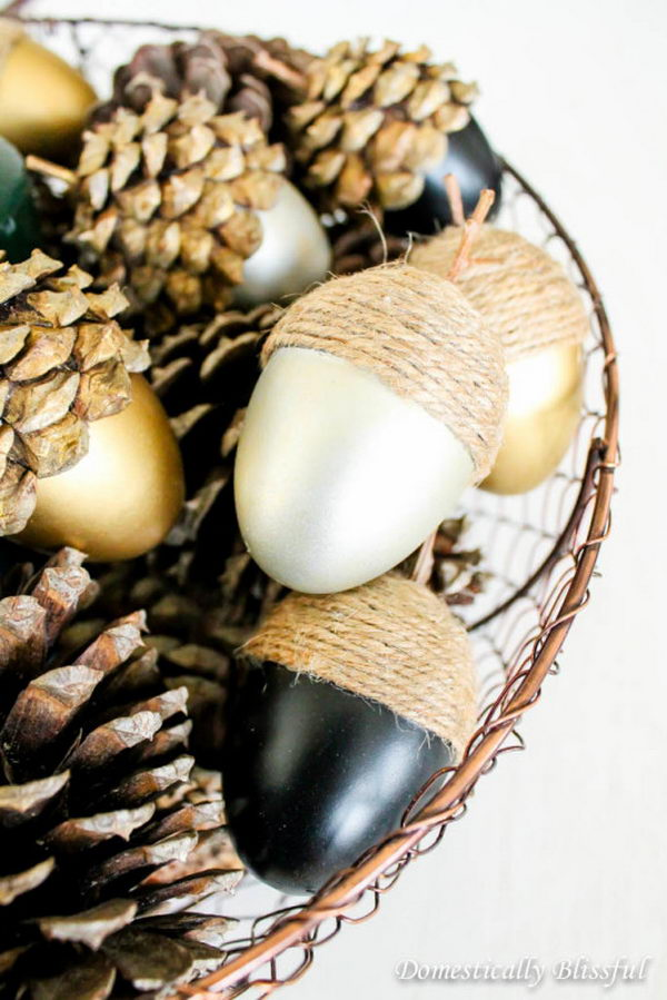DIY Rustic Fall Acorns Made Out Of Easter Eggs.