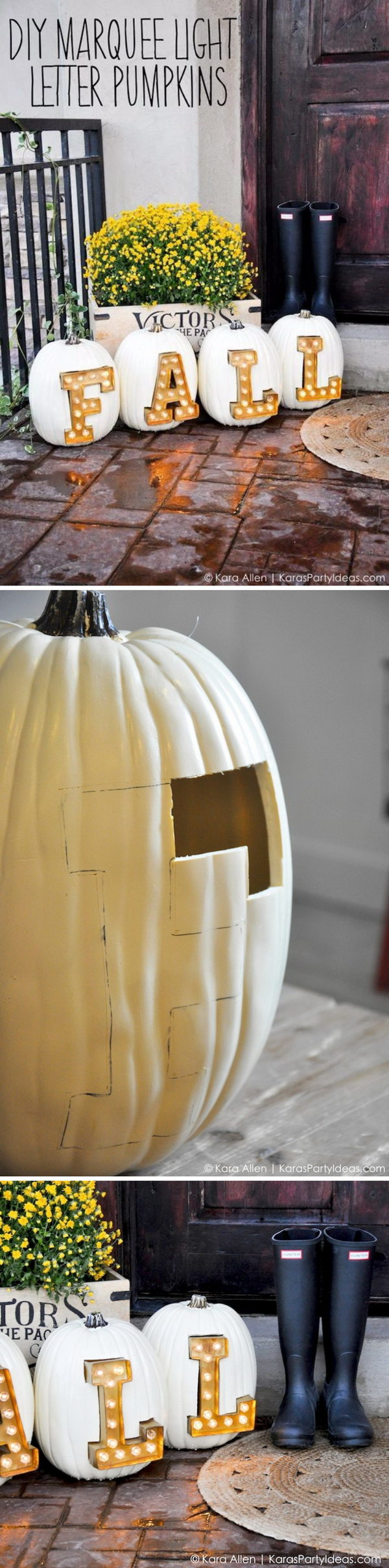 DIY Marquee Light Fall + Halloween Pumpkin Letters.