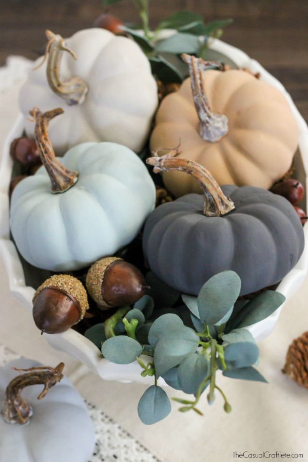 Vintage Inspired Chalky Paint Pumpkins.