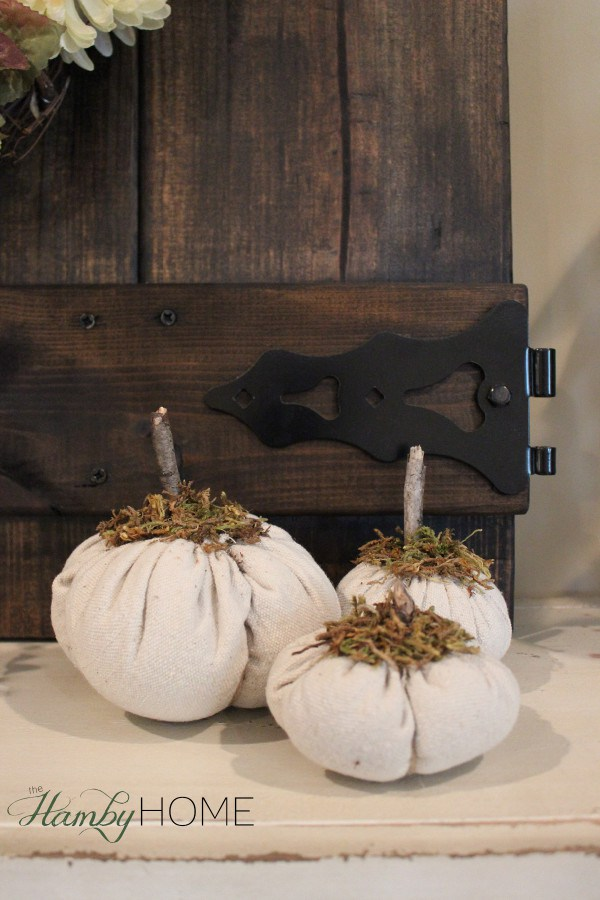 Dropcloth and Moss DIY Pumpkins.