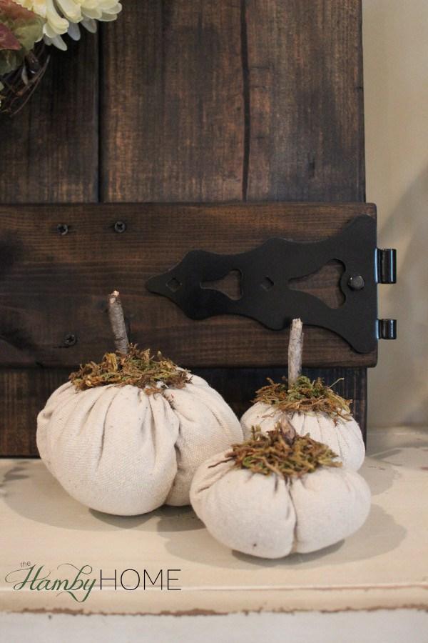 Dropcloth and Moss DIY Pumpkins.