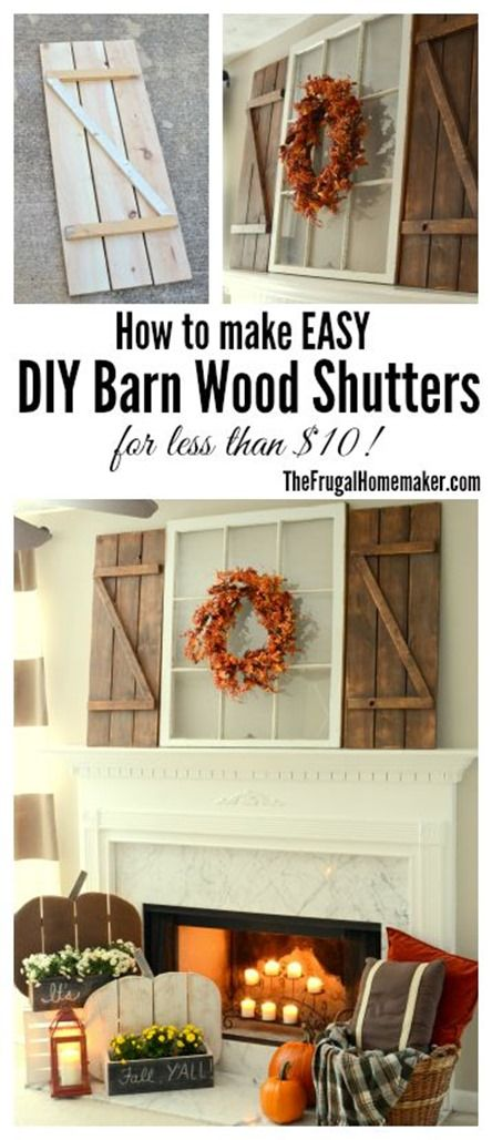 DIY Wood Pumpkins & DIY Barn Wood Shutters.