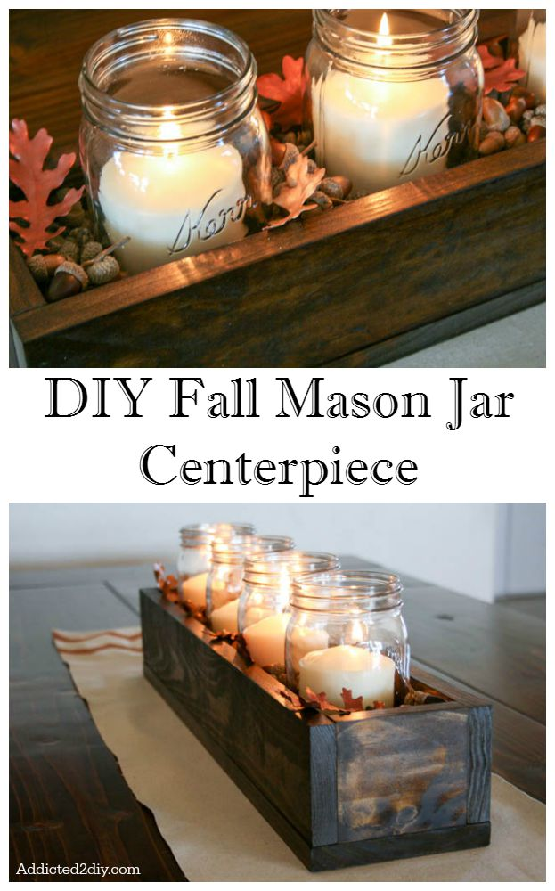 DIY Fall Mason Jar Centerpiece.