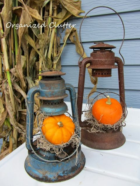 Rustic Lanterns with Pumpkins.