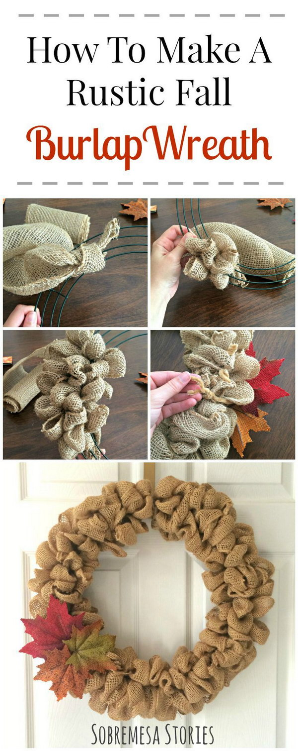 Fall Burlap Bubble Wreath.