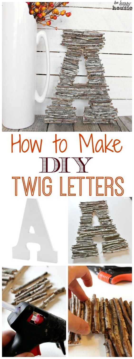 Easy DIY Decorative Letters With Twigs.