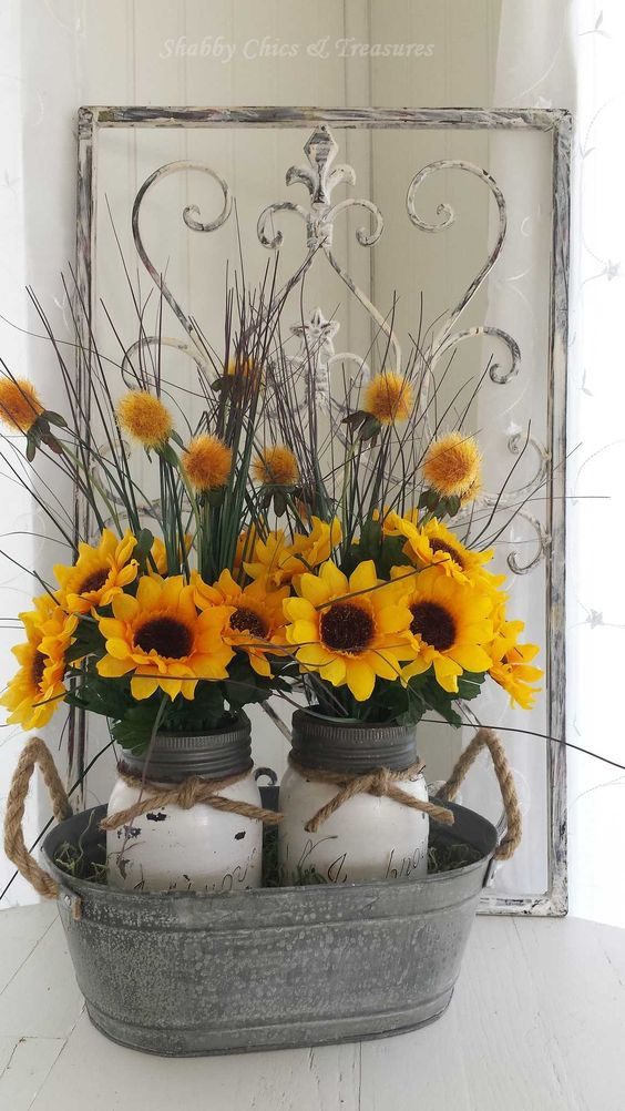 Sunflower Mason Jar Centerpieces.