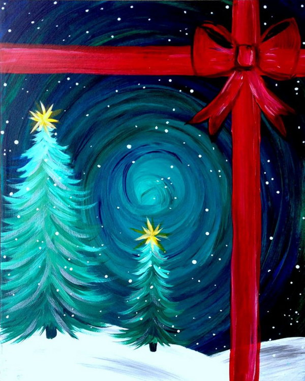 15+ Easy Canvas Painting Ideas for Christmas 2017
