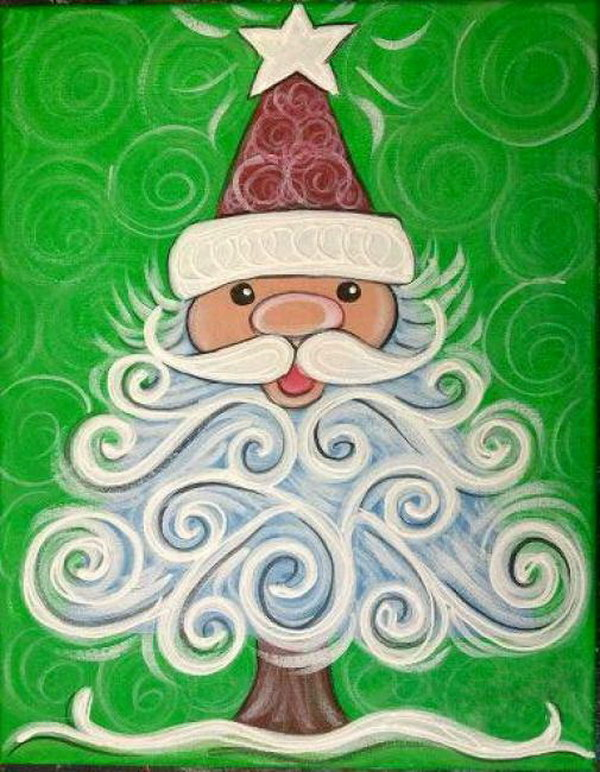 fascinating Cute Christmas Canvas Paintings Part - 6: Cute Santa Tree
