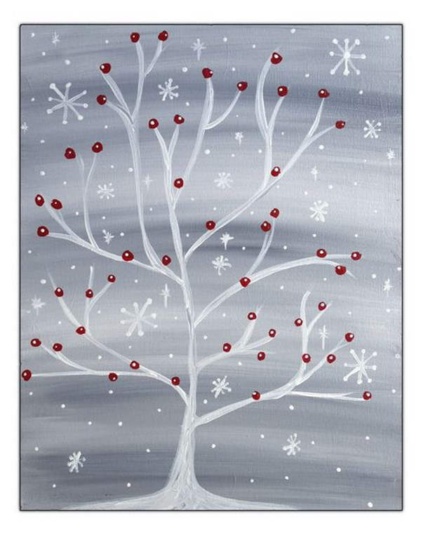 Winter Snowflake Tree with Red Cardinal