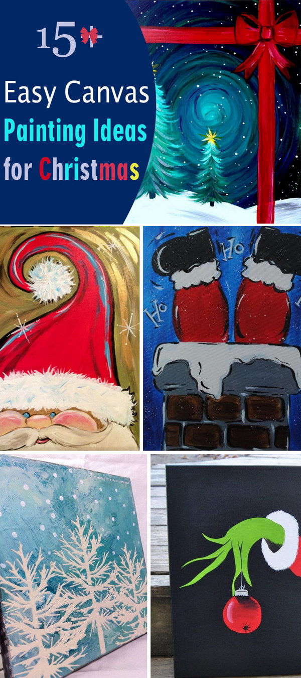 delightful Cute Christmas Canvas Paintings Part - 18: Easy Canvas Painting Ideas for Christmas!