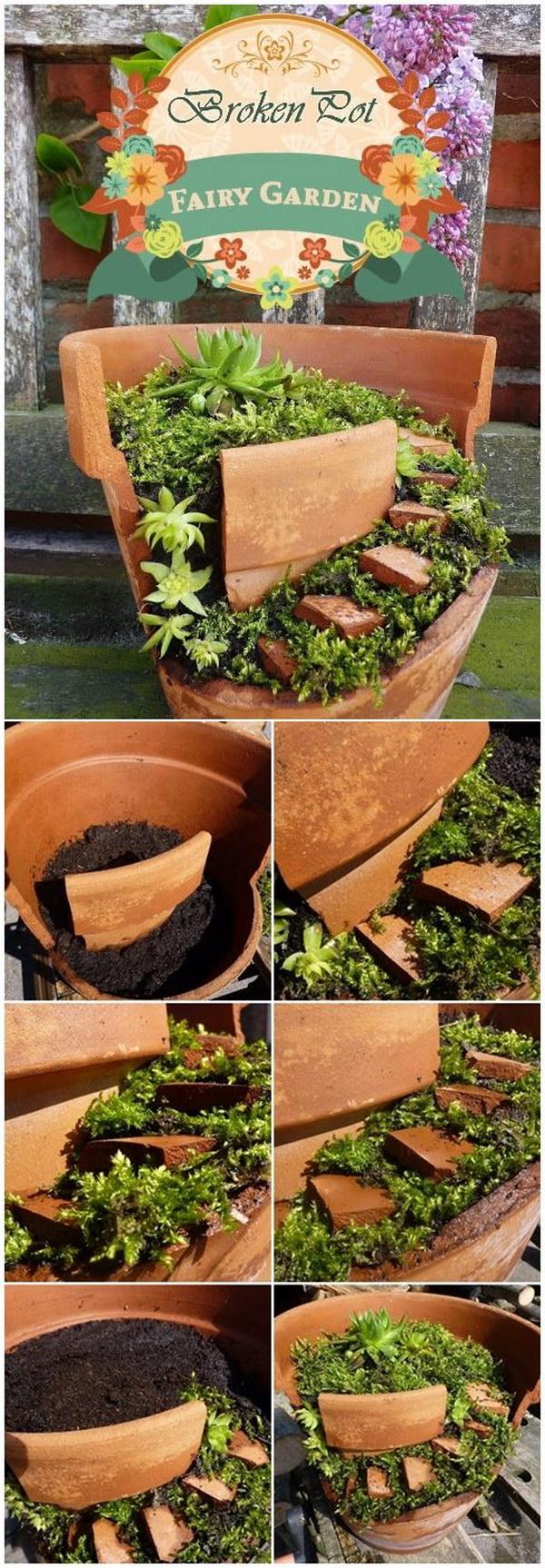 DIY Fairy Garden From Broken Clay Pot