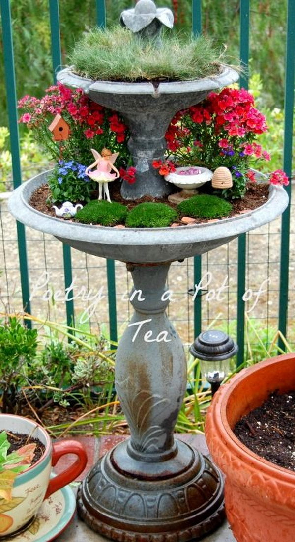 diy fairy garden from repurposed fountain - Diy Fairy Garden Ideas