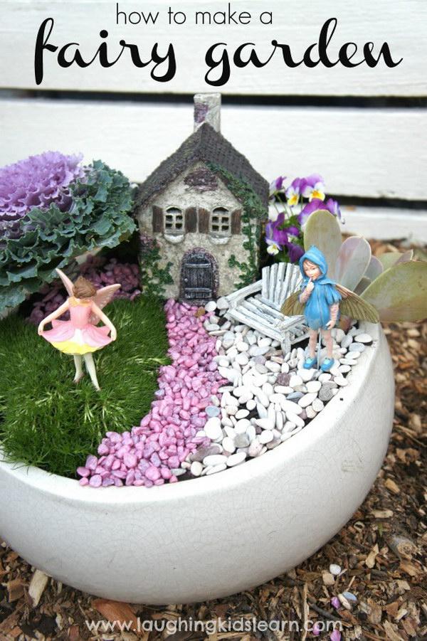DIY Fairy Garden In A Solid Ceramic Pot