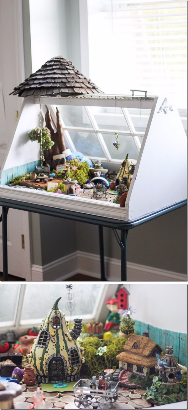 DIY Fairy Garden Using Old Windows.