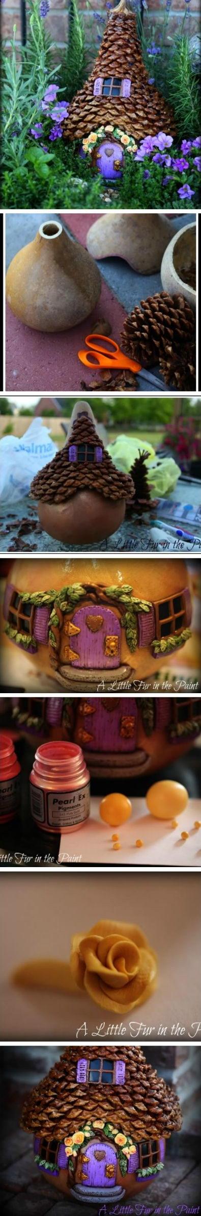 DIY Fairy House Using Pinecones.