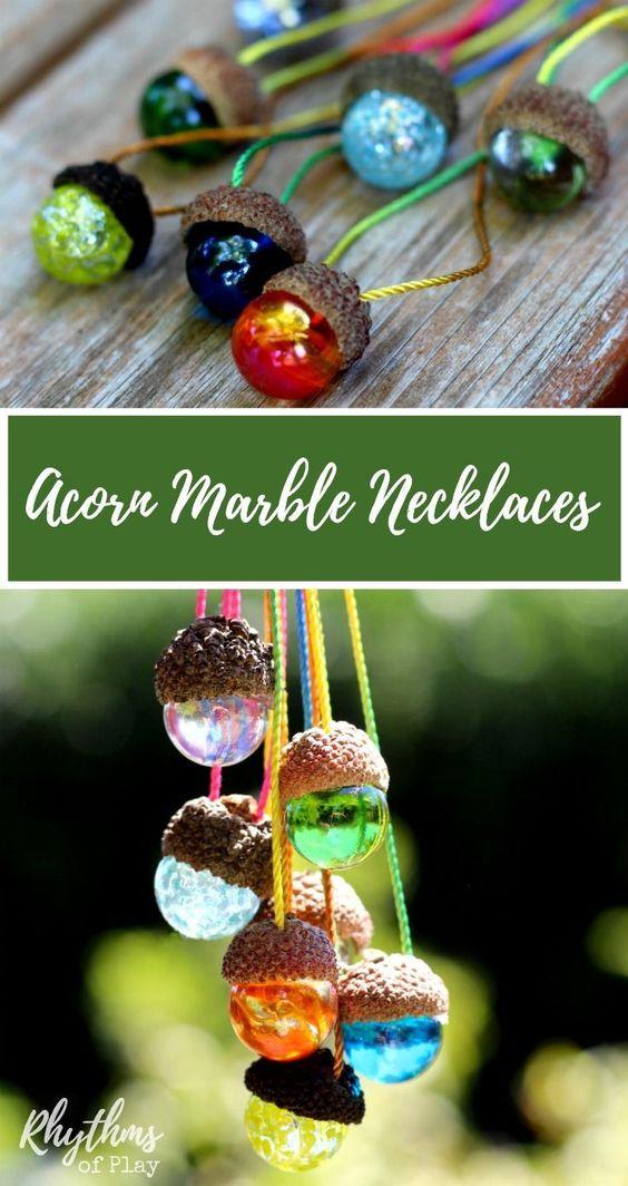 DIY Acorn Marble Necklace.