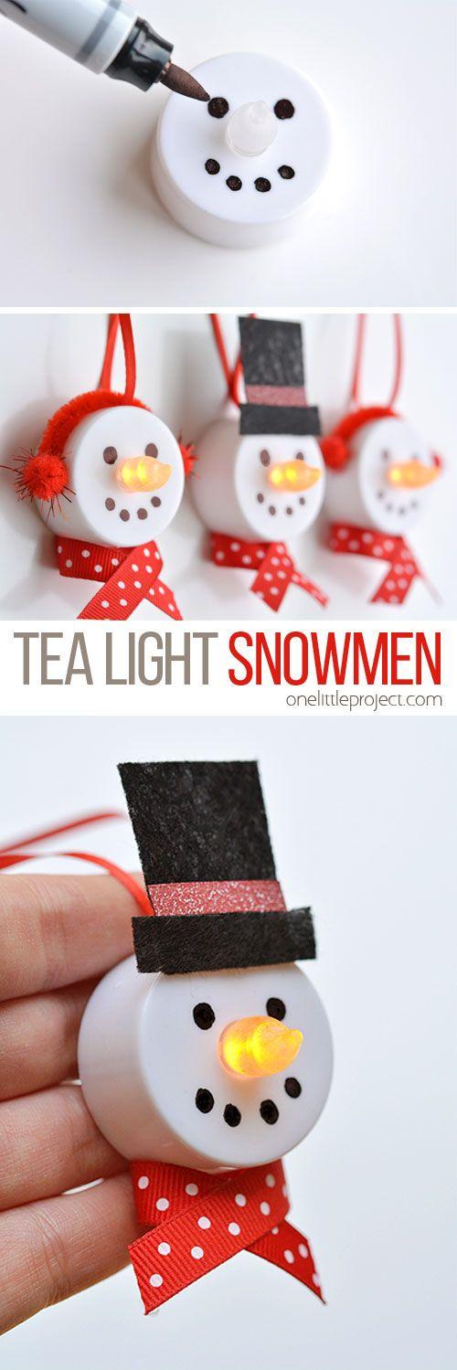 DIY Tea Light Snowman Ornaments.