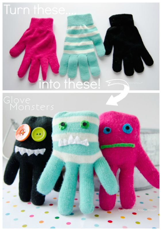 DIY Glove Monsters.