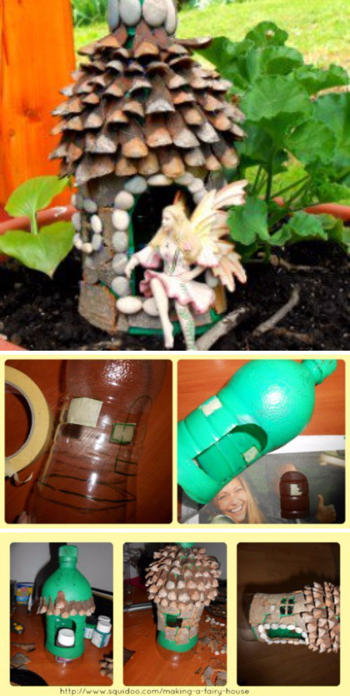 DIY Fairy House from Natural Materials and Plastic Bottle.