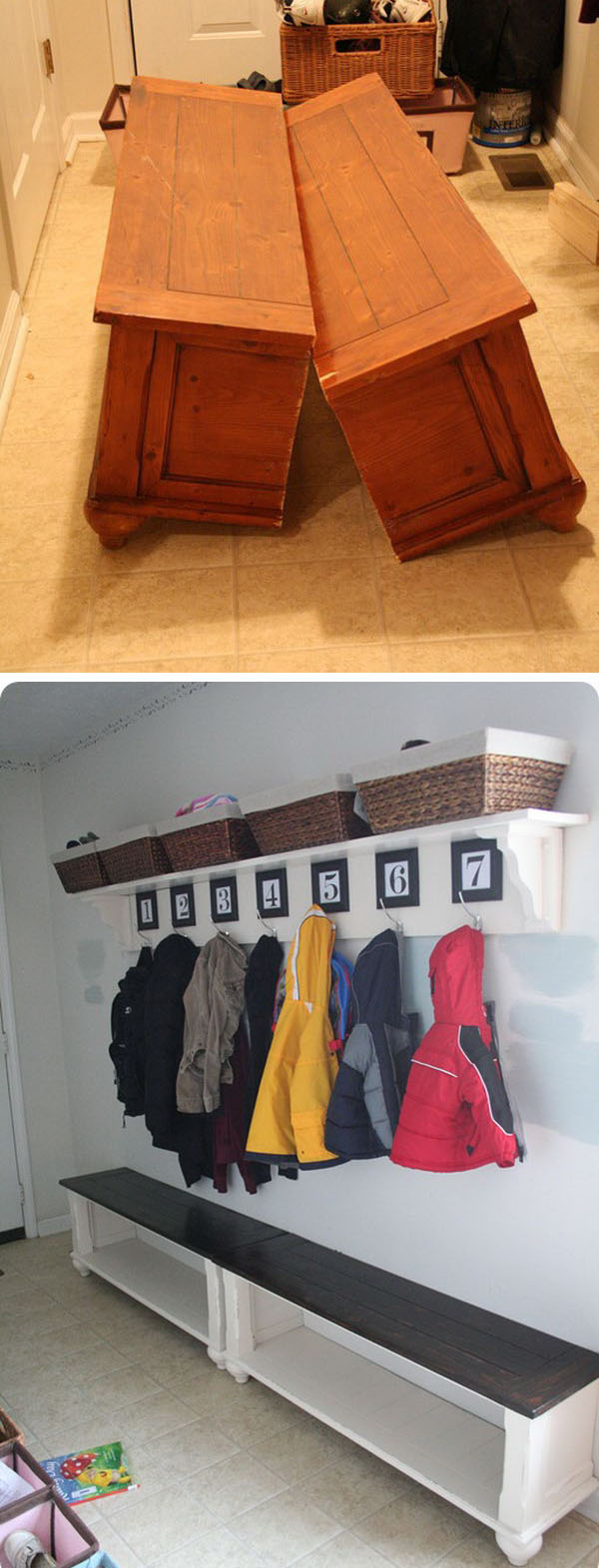 DIY Mudroom Bench from an Old Coffee Table .