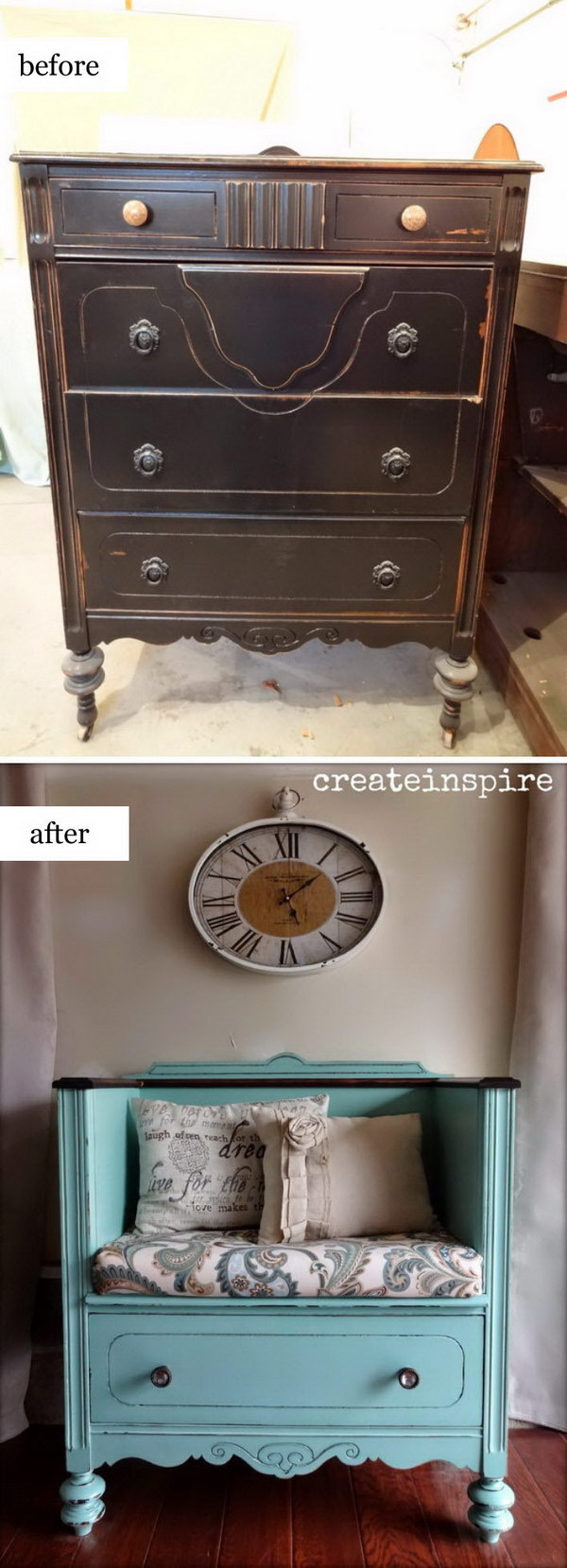 DIY  Bench from an Old Dresser .