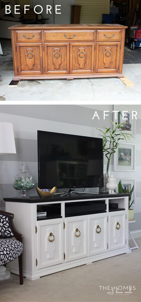 DIY High Impact TV Stand From An Old Oak China Buffet.