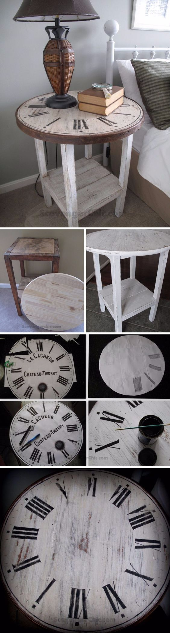 DIY Vintage Clock Table from a Flea Market Find.